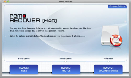 Formatted HFS Partition Recovery on Mac OS X - Main Screen